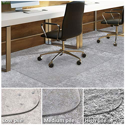 Office Chair Mat for Carpeted Floors Desk Chair Mat for Carpet Clear PVC Mat in Different Thicknesses and Sizes for Every Pile Type Medium-Pile 30 x48 with Lip