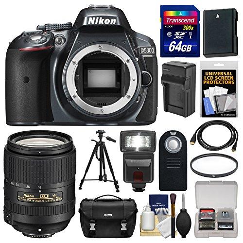 nikon-d5300-digital-slr-camera-body-grey-with-18-300mm-vr-lens-64gb-card-case-flash-battery-charger-