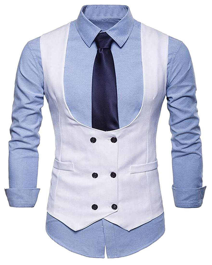 Bloomyma Mens Casual Business Sleeveless U-Neck Double Breasted Solid Color Business Dress Suit Vest