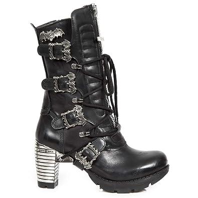 39142a37ebf6 New Rock M.TR090-S1 Mädchen Damen Stiefel Stiefeletten Schwarz Leder ...
