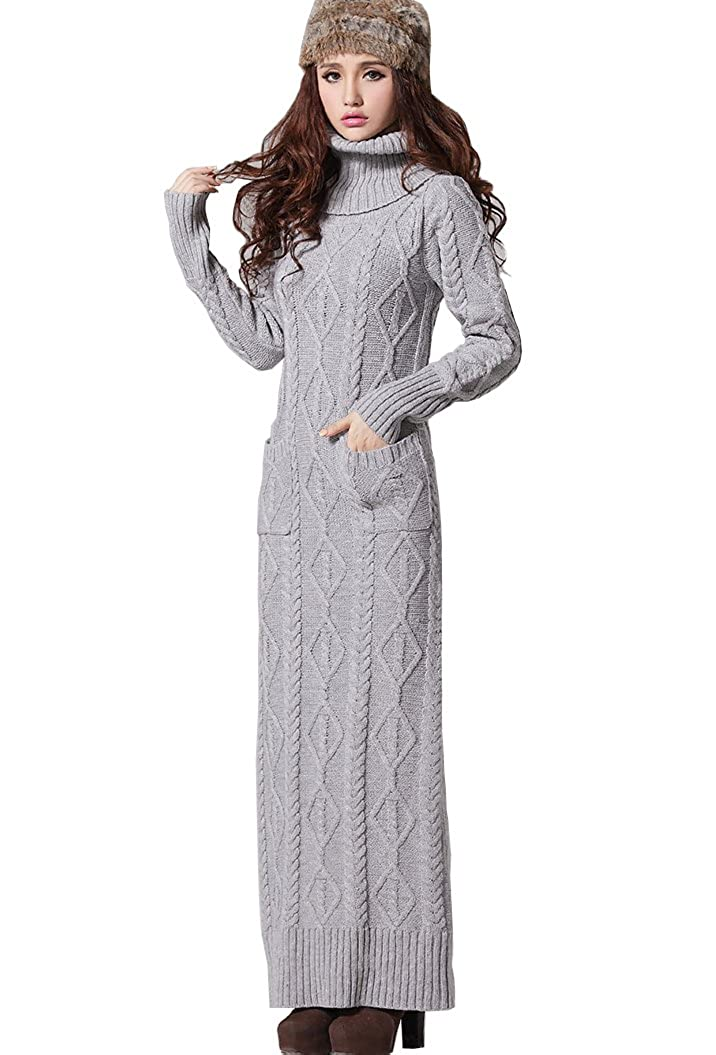 1d5f6fb306bfad BININBOX®Damenkleider Strickkleid Maxikleid Knit dress Rollkragen cable  Sweatkleid: Amazon.de: Bekleidung