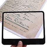 NZQXJXZ レンズページ読書 ハンドヘルド拡大鏡 ライト矩形全ページ3X虫眼鏡 小さな印刷物を読む低視力 小さなプリント 地図 コイン 検査 宝飾品 小さなプリントと低視力の読書に最適です ブラック