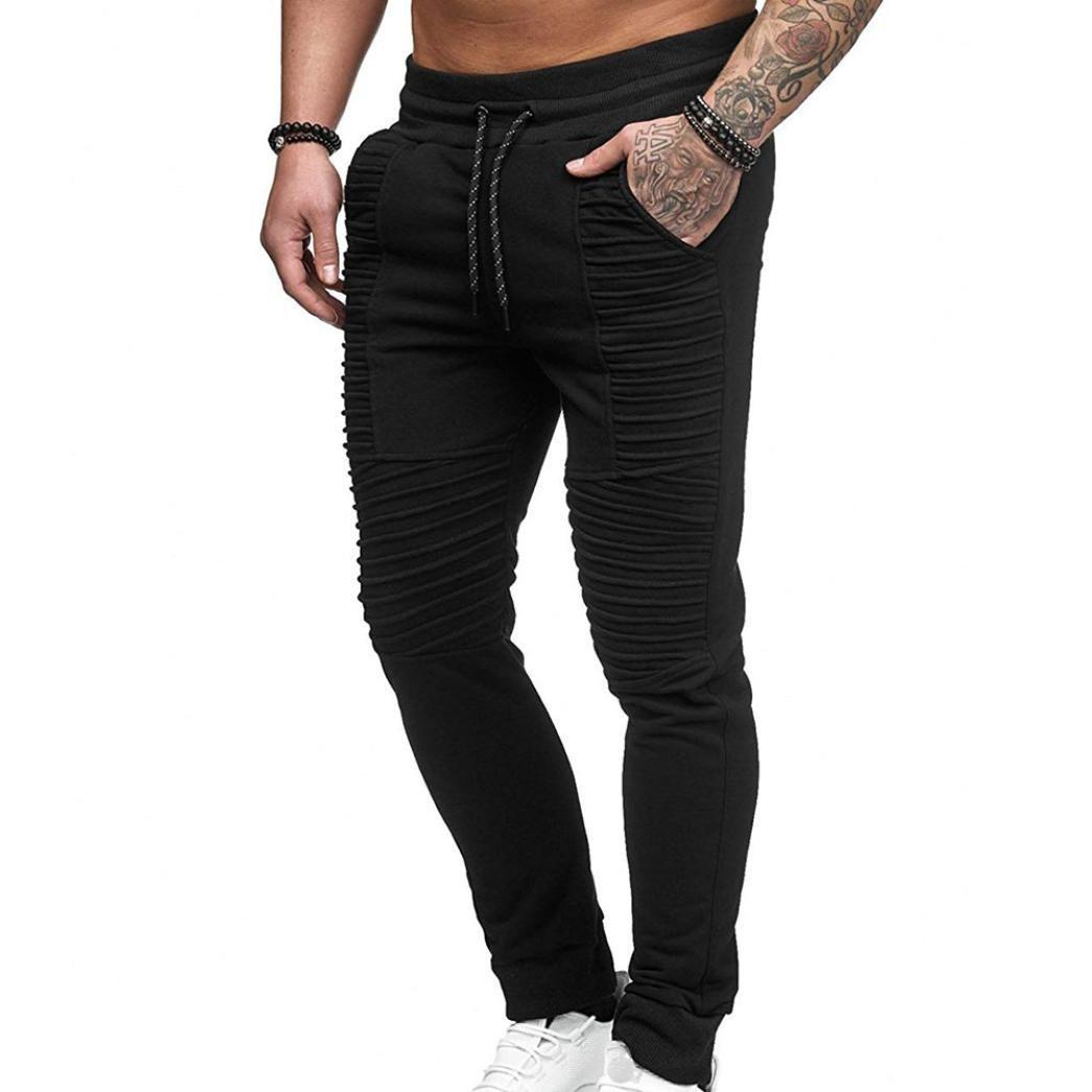 OWMEOT Men Sweatpants,Cargo Work Trousers Jogger Basic Sportwear Jogging Outdoor Pants (Black, M)
