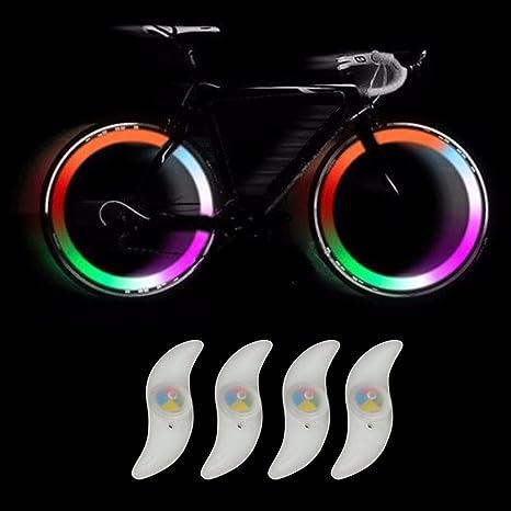 TRIXES 4 X Luz de Rueda de Bici LED Cambian de Color 3 Modo ...