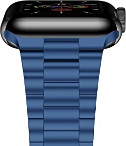 iiteeology Compatible with Apple Watch Band SE/Series 6/5/4 44mm Series 3/2/1 42mm, Upgraded Version Stainless Steel Link Bracelet iWatch Band for Men (Blue-3 Rows, 42mm/44mm)
