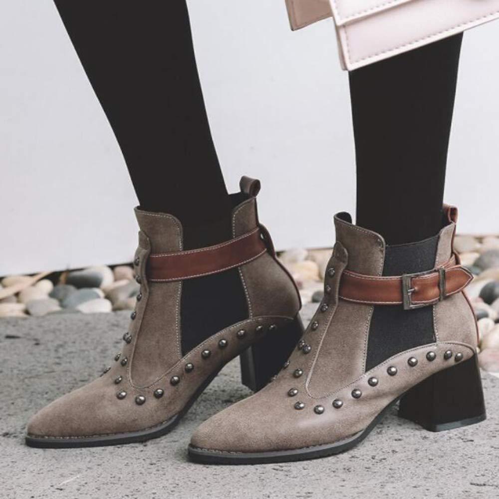 CITW CITW CITW Herbstliche Damenstiefel Gürtelschnallen Stiefel Damen Nieten Große Damenschuhe Martin Stiefel,braun,UK3 EUR37 73450c