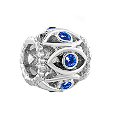 Lucky Charms Filigree Evil Eye Blue Crystal Birthstone Beads Fit