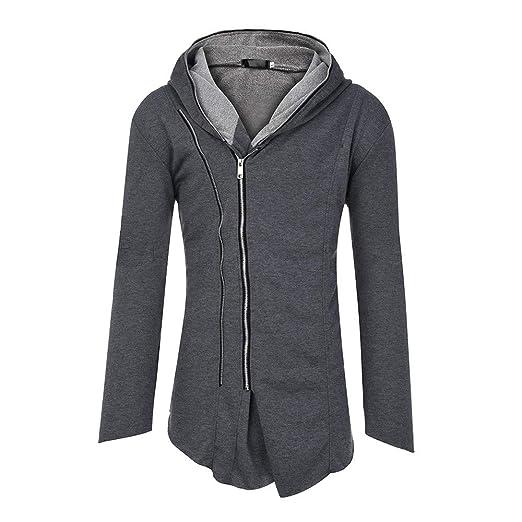 KPILP Mens Herbst Winter Mode Dunkler Umhang Zipper Hoodie Langarm Assassin's Creed Zur Seite Fahren Dick Warm Sweatshirt Mantel