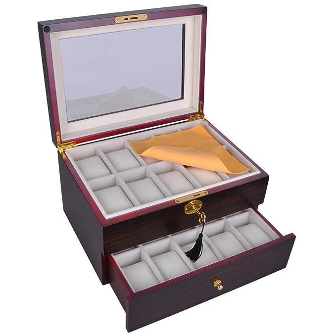 White Large Mirror Jewelry Storage Case YK18008W Ylu Yni Jewelry Box Earrings Organizer with 2 Drawer