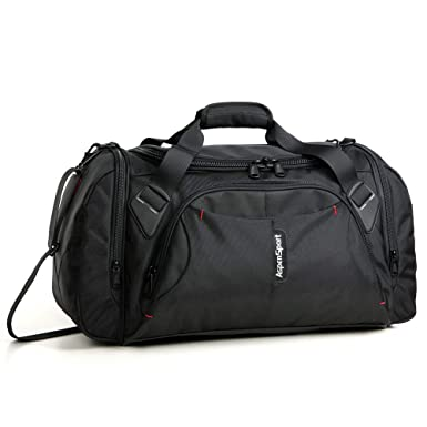 681537a06f ASPENSPORT Duffel Bag for Travel Sport Gym Water Resistant Carry on 40 L  Black