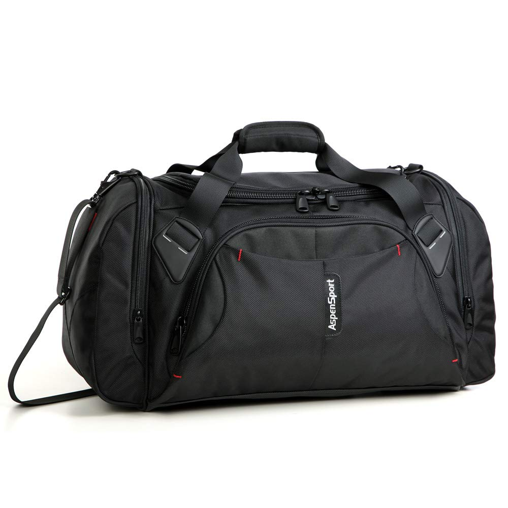 ASPENSPORT Duffel Bag for Travel Sport Gym Water Resistant Carry on 40 L Black