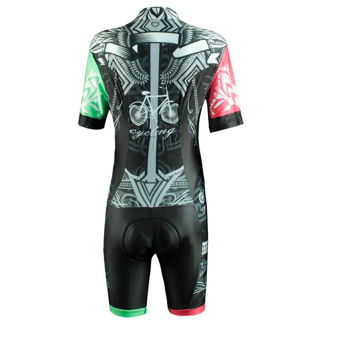GWELL Damen Triathlonanzug Triathlon Trisuit Kompression Einteiler Duathlon Laufen Schwimmen Fahrradfahren Wettkampfanzug