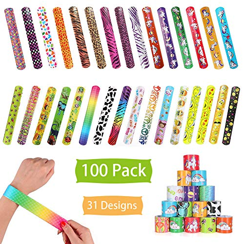 - 100 Pcs Slap Bracelets Party Favors, Colorful Hearts Emoji Animal Unicorn Print Design Retro Slap Bands for Kids Adults, Goody Bag Pinata Filler Carnival Prizes Treasure Chest Toys
