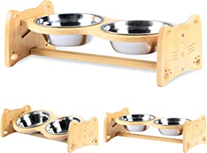 JIESENG Dog Raised Bowl Cat-Look Type 2 Adjustable Flatten Tilted Heights for Small Pieces Bamboo Elevated Stand Feeder