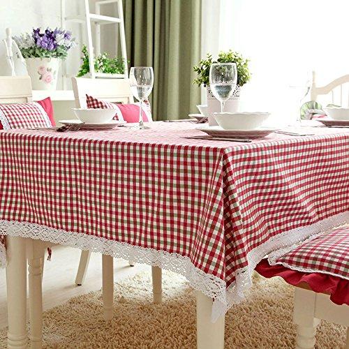 Tabgw Nappe rectangulaire salle à manger drap de coton couverture en tissu Garden Hotel Cafe Restaurant Accessoires pour la maison Style minimaliste grille rouge 90x90cm