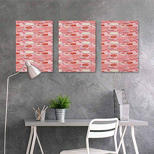 HOMEDD Canvas Wall Art Sticker Murals,Tea Party Tea Time Themed Illustration with Cherries and Cupcakes of Many Flavors,On Canvas Abstract Artwork 3 Panels,24x35inchx3pcs Pink Beige Orange