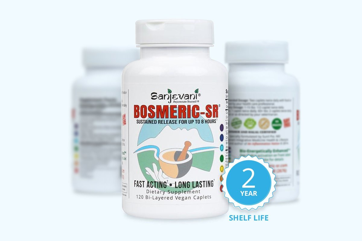 Bosmeric SR Supplement with Curcumin C3 – 120 Soy/Gluten Free Caplets with Black Pepper - Clinically Tested, Non GMO, 100% Natural and 8 Hr Release