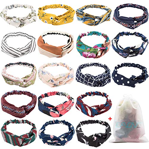 Jester Hats Wholesale (18 Pcs Boho Headbands for Women, EAONE Floral Bandeau Headbands Elastic Hair Bands Criss Cross Hair Wrap Hair Accessories with 1PC Pouch)
