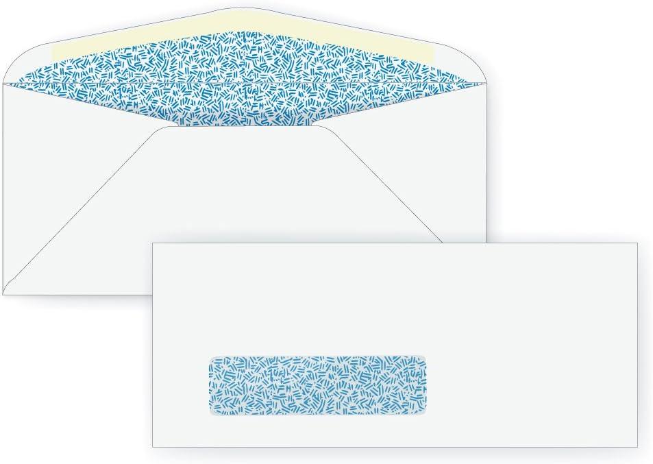 Blue Inside Tint Box of 500 3 7//8 x 8 7//8 24# White #9 Window Envelope - Window Envelope Series