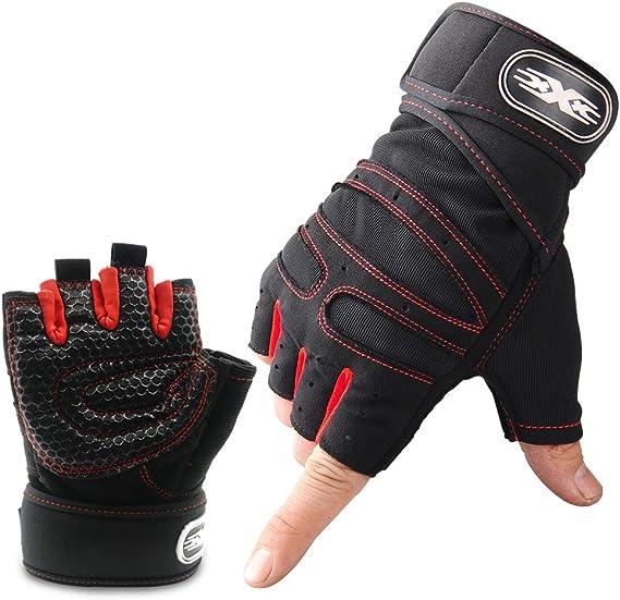 Wesho - Guantes de gimnasio, transpirables, con protección antideslizante para la palma de la mano, ajuste cómodo, ideal para fitness, crossfit, ...