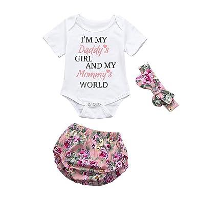 4760c836b Amlaiworld Ropa bebé niña Verano 3 Pcs Mameluco recién Nacido bebé niñas  Carta + Pantalones Cortos + Conjunto de Diadema Conjunto de Ropa   Amazon.es  Ropa y ...