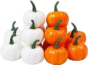Elcoho 16 Pack Small Artificial Lifelike Pumpkin Fall Harvest Mini Pumpkins for Home Garden, Fall Harvest Decor, Thanksgiving or Halloween Decoration