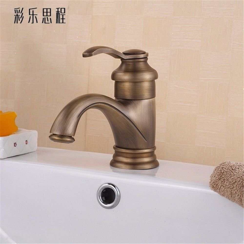S.Twl.E Sink Mixer Tap Faucet Bathroom Kitchen Basin Tap Leakproof Save Water Copper Antique Marble Bathrooms Hot And Cold Single Hole Kitchen Bathroom