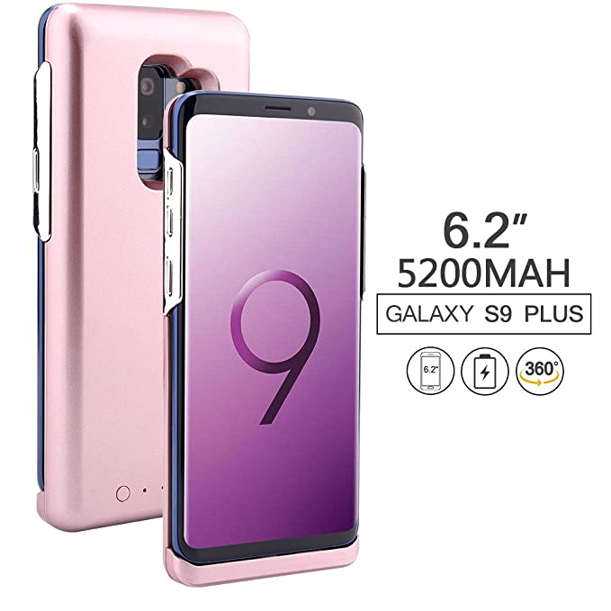 competitive price 353ed ce20c Galaxy S9 Plus Charging Battery Case, REDGO 5200mAh External Battery  Charging Case for Samsung Galaxy S9 Plus, Rose Gold Pink (Not for Galaxy S9)
