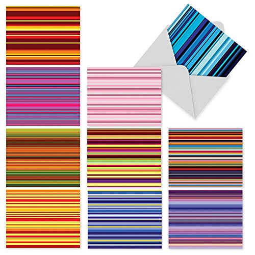 M2034 True Stripes: 10 Assorted Blank All-Occasion Note Cards Featuring Various Colored Striped Patterns, w/White Envelopes.