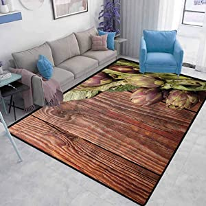 Artichoke Home Sports Rugs Fresh Picked Eat Soft Indoor Large Modern Area Rugs Abstract Modern Carpet Girl's House W4.5 x L5.2 Feet