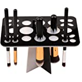 inkint Collapsible Color Make Up Brush Air Drying Bracket Brush Organizer Clean Storage Tree Tower for Puff Eye Shadow Pen (BLACK)