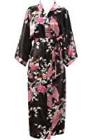 J.ROBE Women's Kimono Robe Long Printed Lotus Kimono Robe Silk with Pockets