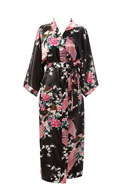 6b4c1ab06d J.ROBE Women s Kimono Robe Long Printed Lotus Kimono Robe Silk with  Pockets