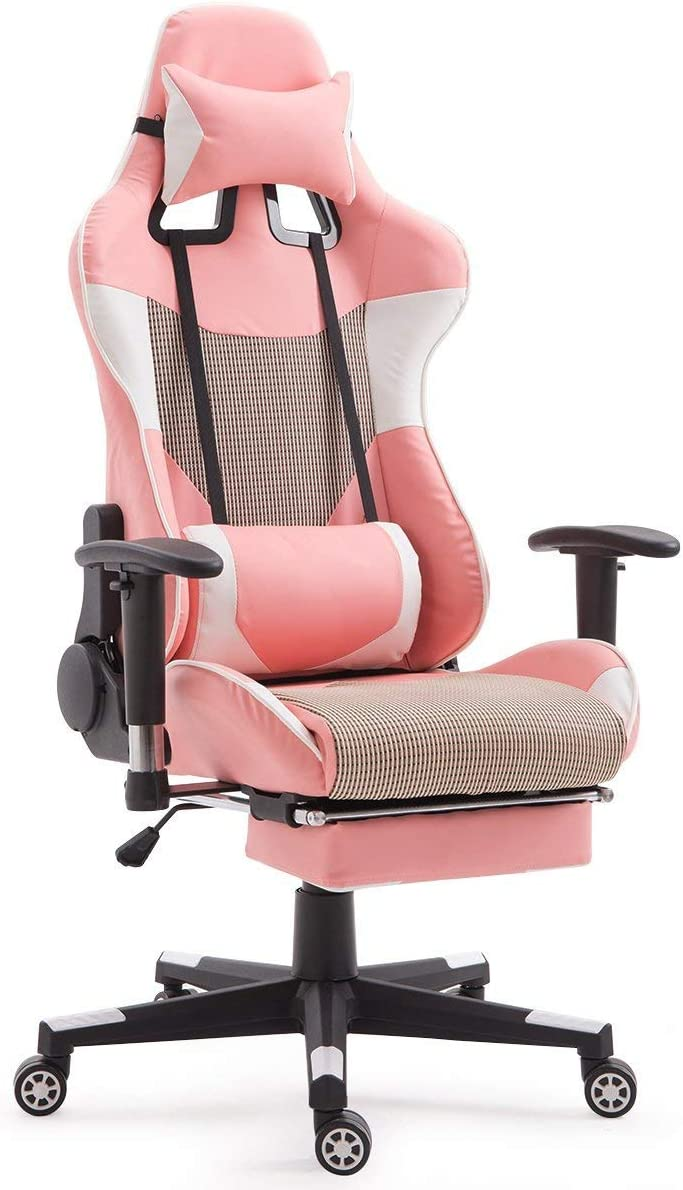 Casart Gaming Chair Racing Style High Back Ergonomic Office Chair Executive Swivel Computer Desk Chair Height Adjustable Task Chair Reclining with Lumbar Support, Headrest and Footrest Pink