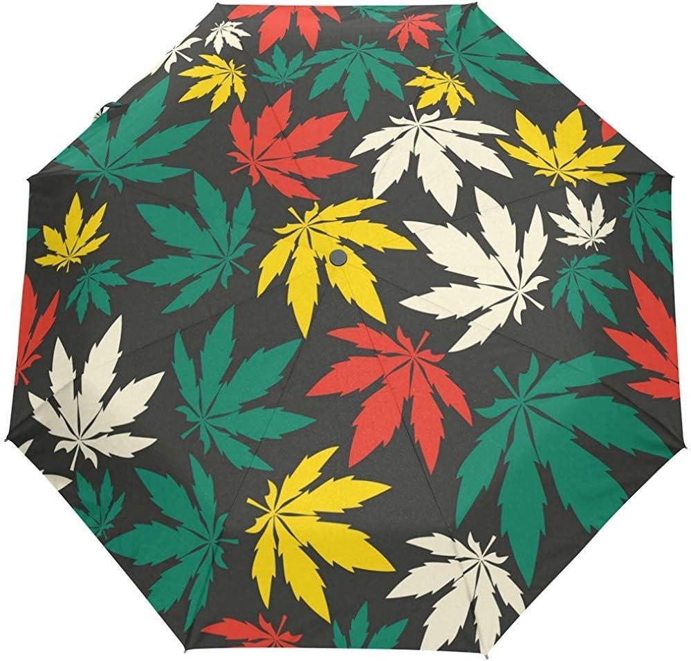 Jacque Dusk Paraguas-Colorido Cannabis Leafs Compact Travel Umbrella Auto Open Windproof Waterproof Plegable Paraguas Canopy