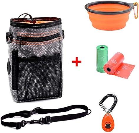 2 sacs de caca Bebliss Pet Training Set Pochette de friandises pour collations multifonctions avec poche pour distributeur de sacs de caca orange, bleu sifflet, bol pliable clicker