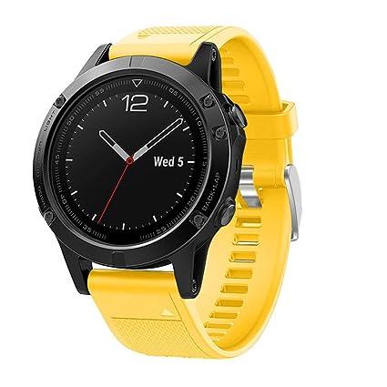 squarex Silicagel - Correa de repuesto para reloj GPS Garmin Fenix 5, color amarillo