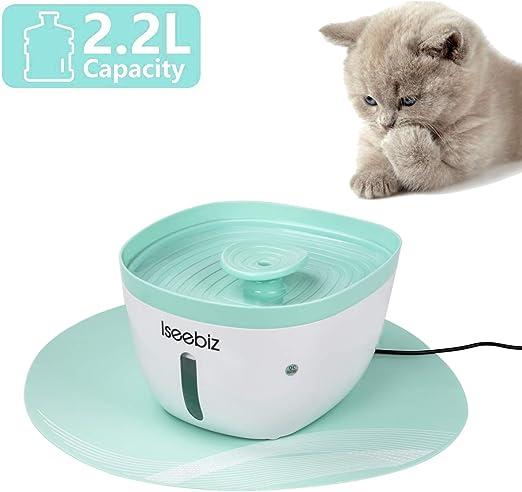 Iseebiz Fuente para Gatos/Perros, Bebedero Automatico con 2.2litro Circulante para Mascota con Estera de Silicona Sin Ruido: Amazon.es: Productos para mascotas