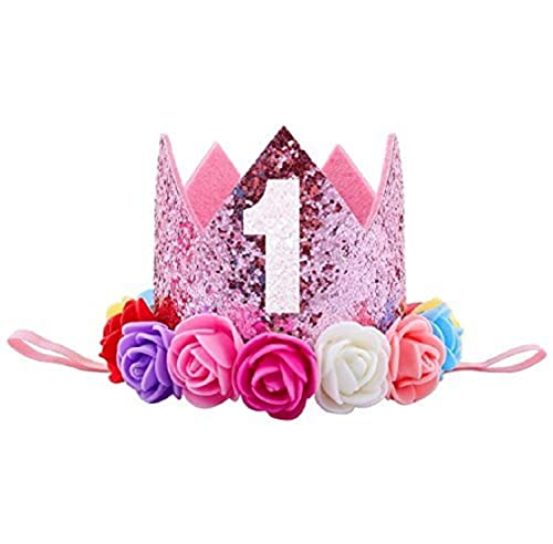 Ziory 1 Pcs Pink Color And Rose Flower Kids Baby 1st Birthday Hat Glitter Crown Head Hair Band Party Headwear For Boys Girls