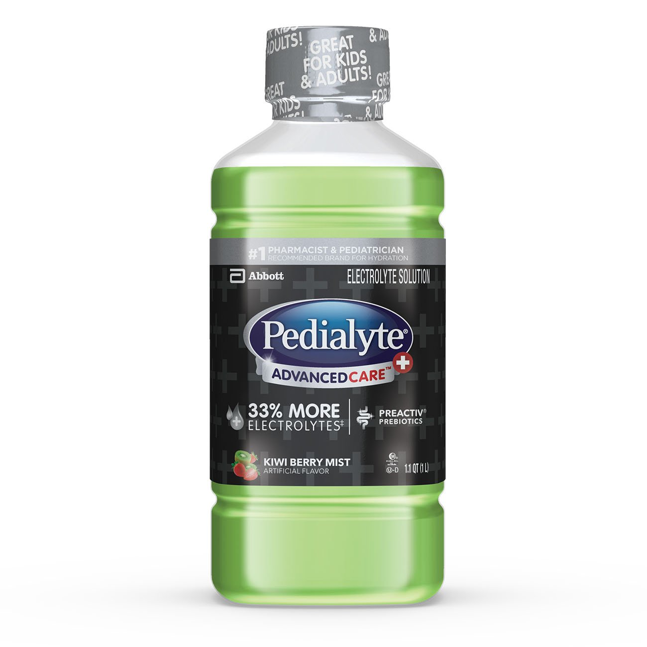 Pedialyte AdvancedCare+ Electrolyte Drink with 33% More Electrolytes and has PreActiv Prebiotics, Kiwi Berry Mist, 1 Liter, 4 Count