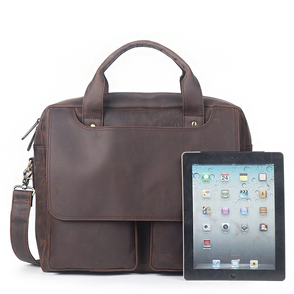 15.6'' Laptop Briefcase, LeatherFocus Vintage Durable Waterproof Multi-functional Genuine Leather Messenger Bag for Men
