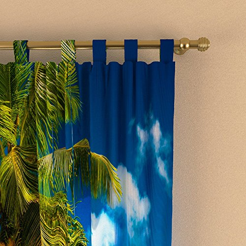 "IrisUSA One Panel 100% Polyester Beautiful Beach Themed Room Darkening Curtain Window Drape For Home Decor, Transparent (52"" x 63"")"
