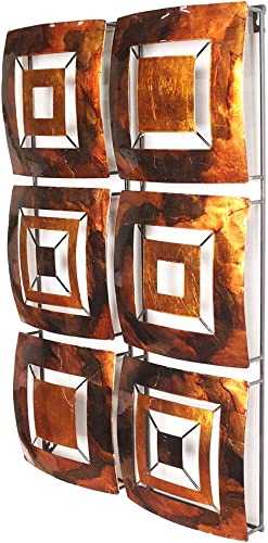 Heather Ann Creations 6 Geometric Squares Panel Modern Metal Hanging Wall Sculpture