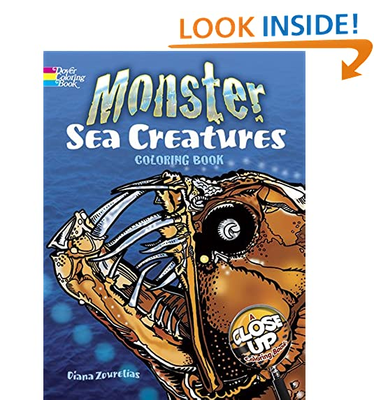 Monster Sea Creatures A Close Up Coloring Book Dover Nature