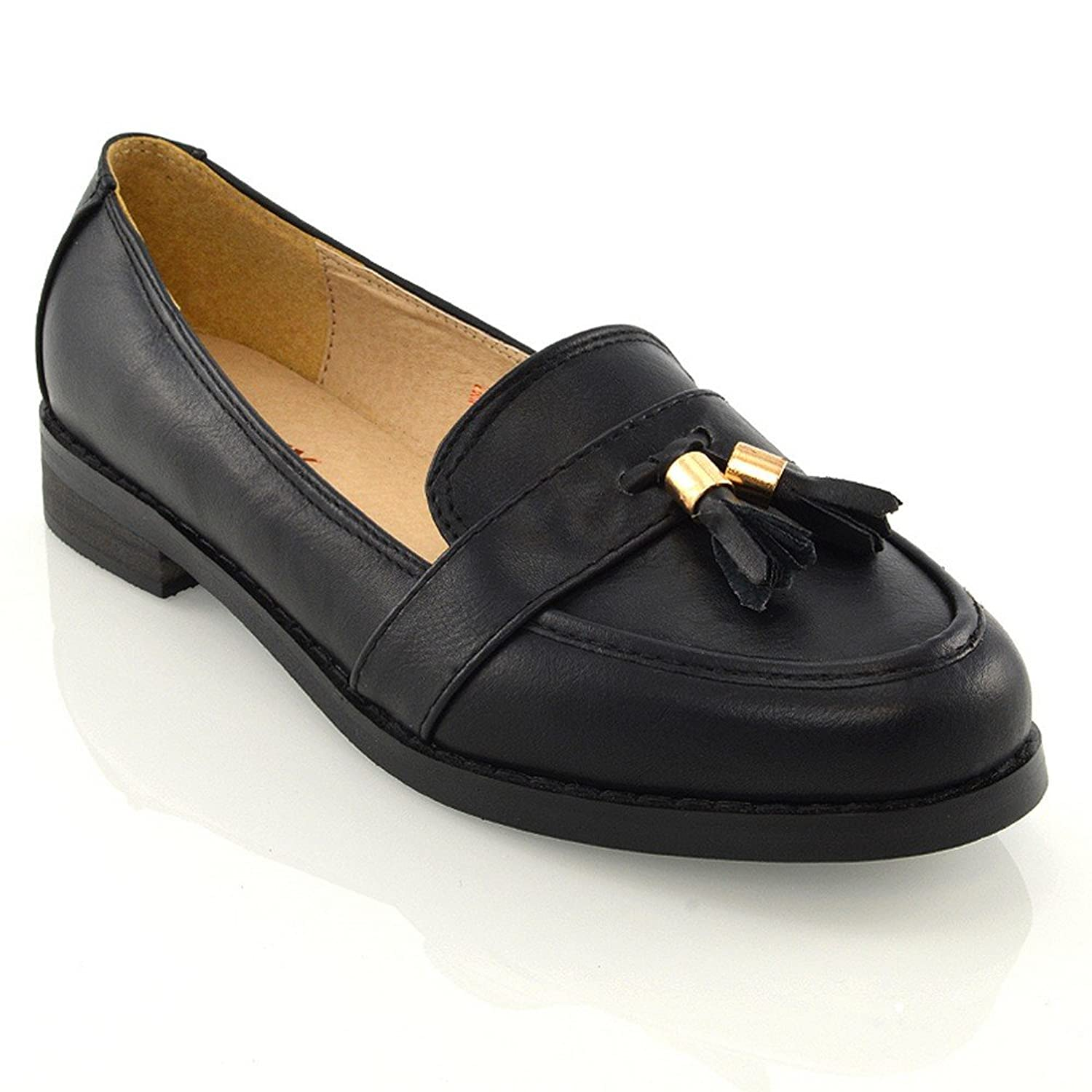 New Women/'s Comfy Shoes Ladies  Flat Oxford Work Loafers Brogues Pumps Size 3-8