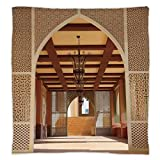 Super Soft Throw Blanket Custom Design Cozy Fleece Blanket,Arabian,Traditional Arabian Architecture in Doha Qatar Middle East Oriental Landmark Hotel,Light Brown,Perfect for Couch Sofa or Bed