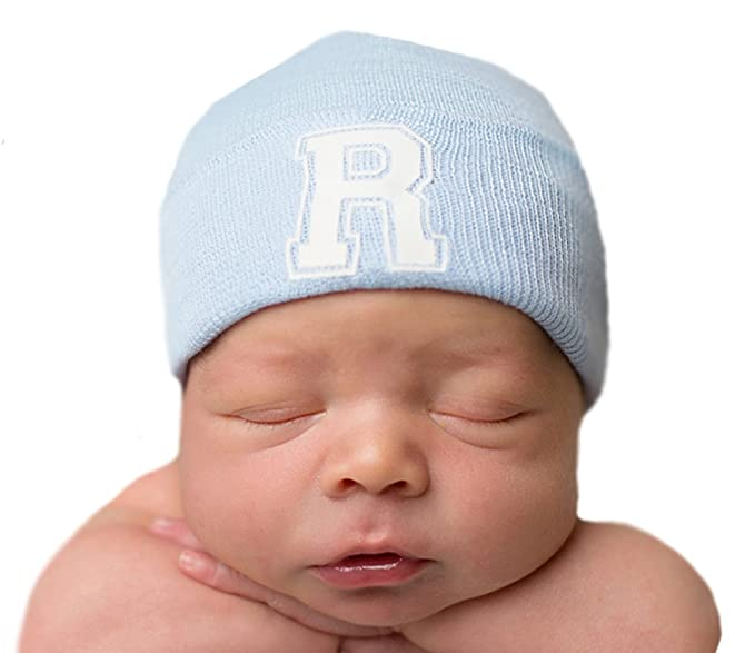 Amazon.com  Melondipity s First Letter Initial Newborn Boy Blue Hospital Hat  (A)  Clothing f52a3c3111c4
