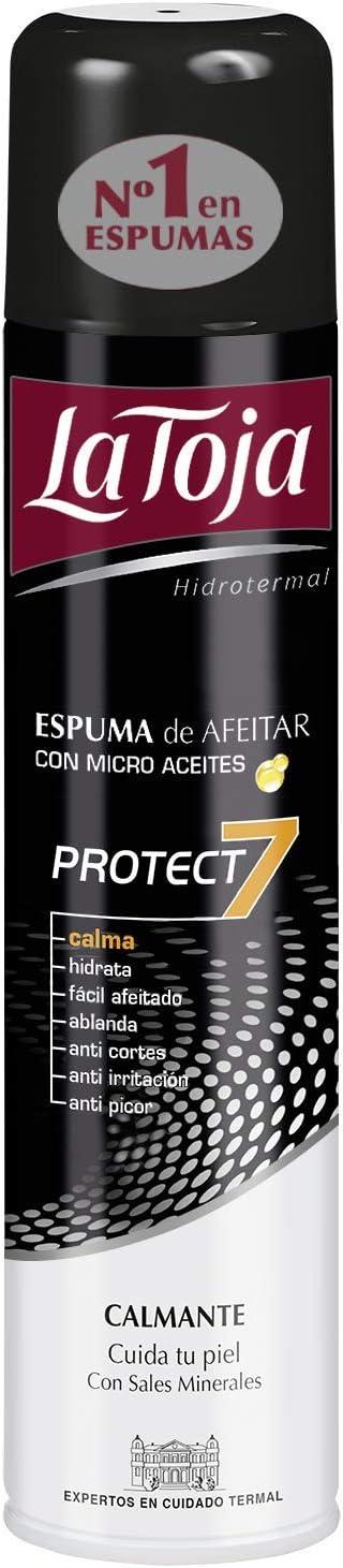 La Toja - Espuma Afeitado Protect 7 - Enriquecida con Micro Aceites y Sales Minerales - 4 unidades de 300ml