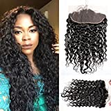 Maxine Free Part Ear To Ear 13x4 Pre Plucked Water Wave Frontal with Baby Hair Natural Hairline 10A Grade Full Lace Frontal Closure Wet and Wavy Human Hair Malaysia Hair Frontal 130% Density (8 Inch)