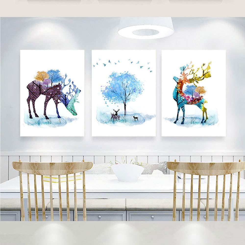 """Unframed 3Set Fortune Deer Print Wall Art Décor, Elk Wall décor Canvas for Office,Animal Deer Canvas Print Poster,Deer Watercolor Picture Oil Painting Wall Mural for Kid Living Room. (16"""" x 20"""")"""